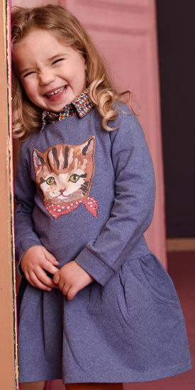 Kleid / Sweatkleid Hatty Cat blue #013 - Room Seven Winter 2017/2018