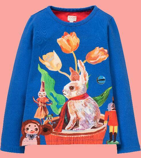 Kindermode Room Seven Winter 2017/18 Room Seven Shirt Tin white rabbit blue #011